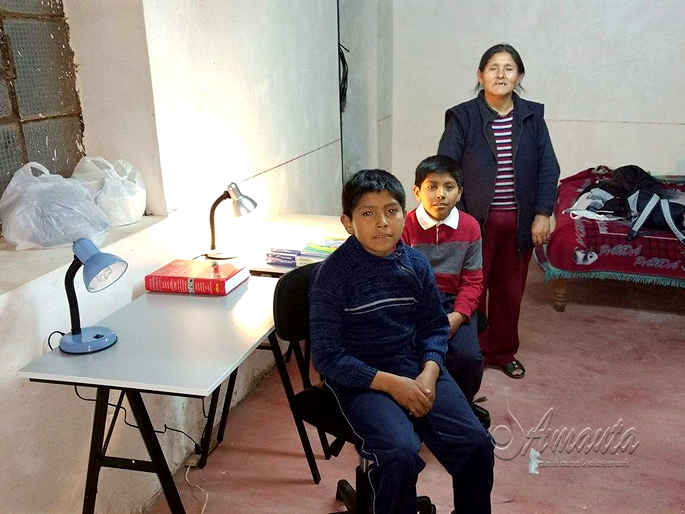 The two twins, at home with their mother with their new study space