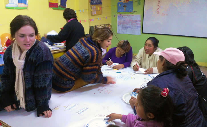 The General Hygiene group teaching at the after-school program in Cusco