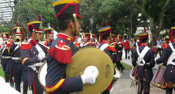 A marching group of grenadiers in Buenos Aires