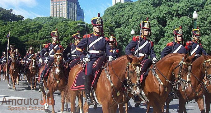 Parade of horses on Plaza San Martin in Buenos Aires