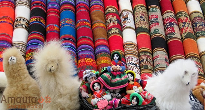 Artisanal crafts at a local market in Cusco