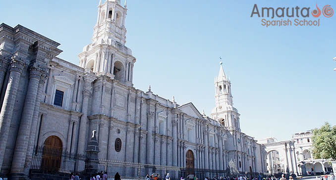 The beautiful Cathedral of Arequipa