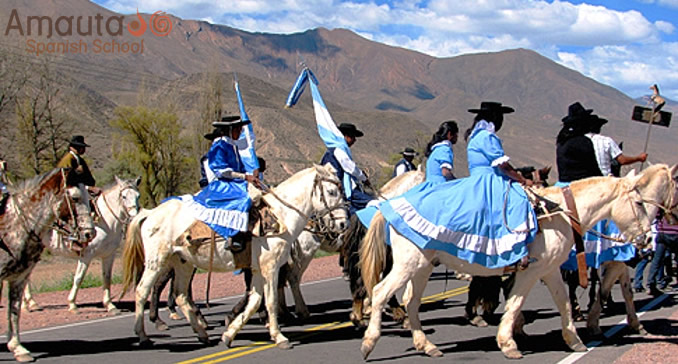 Gauchos on horses in Argentina
