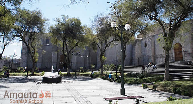 Church and monastery of Plaza San Francisco in Arequipa