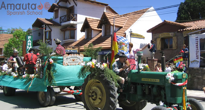 Colorful parades on trucks during the Oktoberfest of Argentina