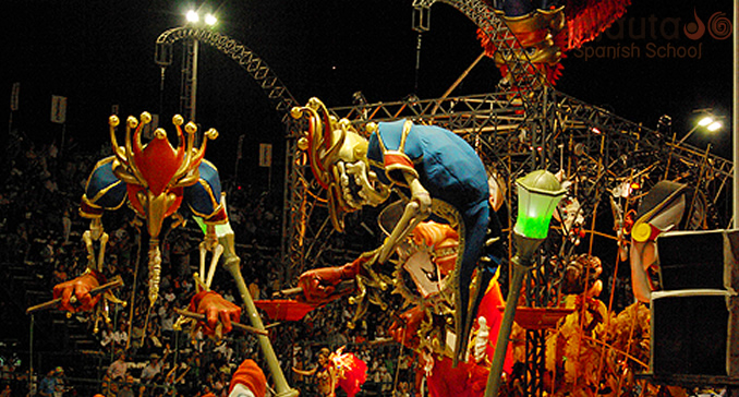 Different carnival figures such as tigers and dragons in Argentina