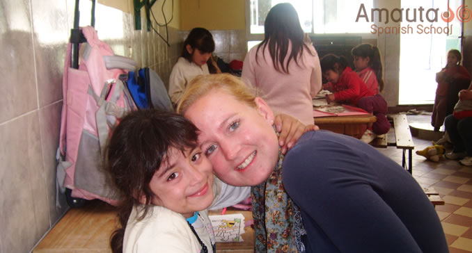 An enthusiastic volunteer at a social project in Buenos Aires
