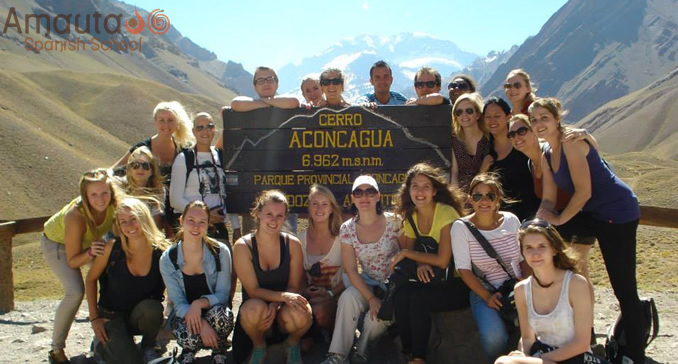 Group of students at National Park Aconcagua
