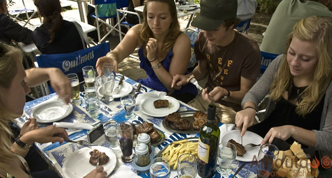 Spanish Students in Buenos Aires have lunch at the Parana River Delta