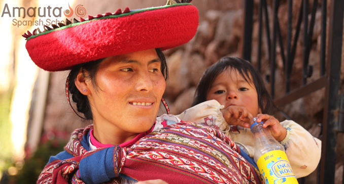 Peruvian woman with her baby in Cusco