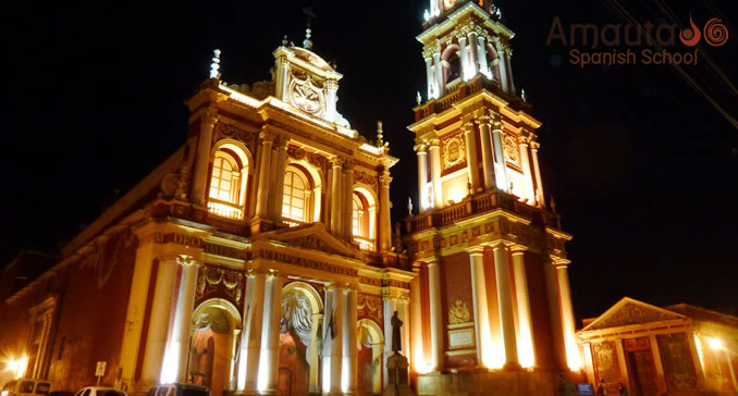 Iglesia San Francisco, Salta city, by night