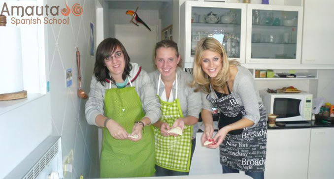 Spanish students during a Cooking workshop in Argentina