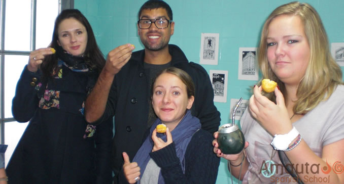 Spanish students enjoy the Argentinean drink