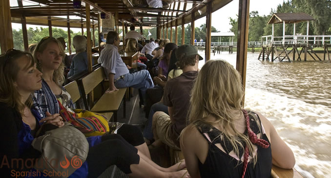 A group of Spanish students on a daytrip to the Tigre Delta in the Province of Buenos Aires.