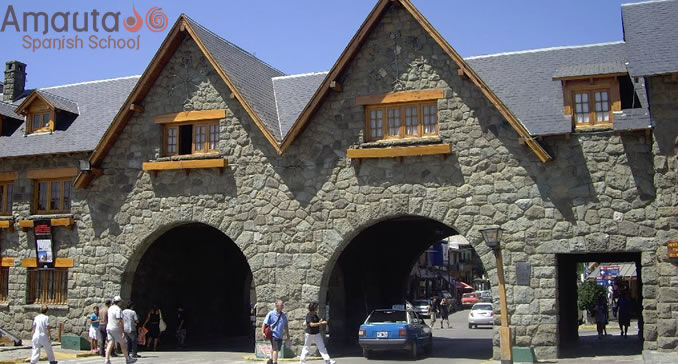 Swiss style stone gate giving access to Centro Civico of Bariloche