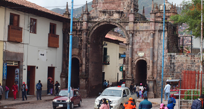 The city gate Cusco in the historical city center