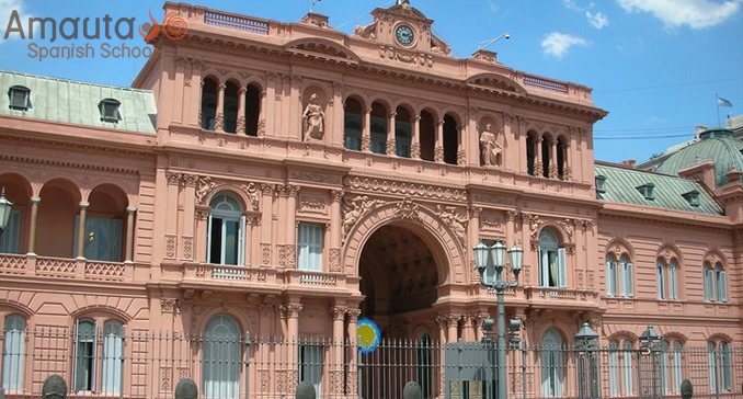 The Pink House or Casa Rosada in Buenos Aires