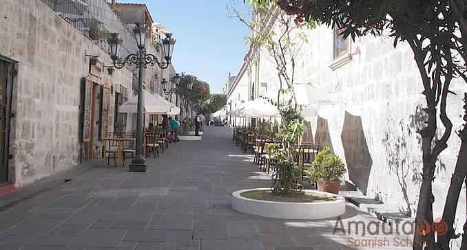 Touristic neighborhood of Arequipa, the white city of Peru