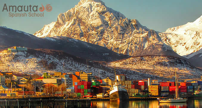 Ushuaia's harbor with the Andes Mountains