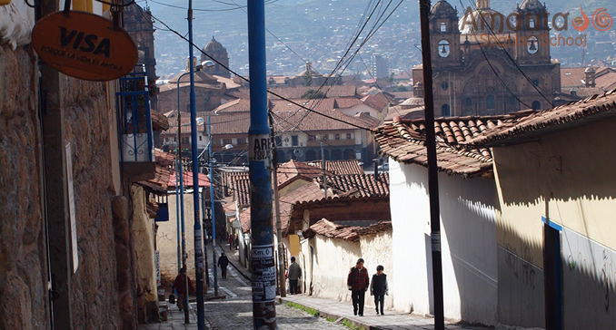 View of Calle Suecia in Cusco