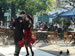 A couple dancing tango on the streets of Buenos Aires.