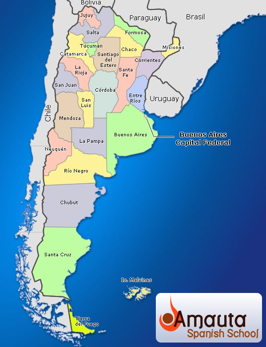 Where Is Buenos Aires On A World Map.Argentina Maps Amauta Spanish School