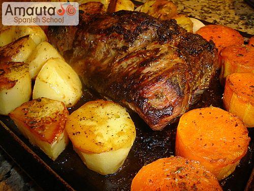 Carne al horno con papas amauta spanish school - Carnes rellenas al horno ...